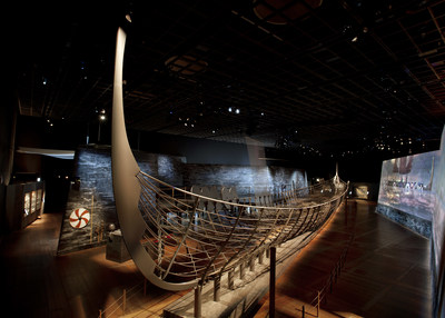 "A reconstruction of the 122-foot Roskilde 6 using 25% of the ship's original preserved planks, the centerpiece of ""Vikings: Beyond the Legend"" making its North American premiere at The Franklin Institute in Philadelphia on October 13, 2018. Photo courtesy of Museums Partner GmbH."