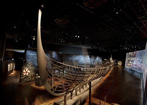 """A reconstruction of the 122-foot Roskilde 6 using 25% of the ship's original preserved planks, the centerpiece of """"Vikings: Beyond the Legend"""" making its North American premiere at The Franklin Institute in Philadelphia on October 13, 2018. Photo courtesy of Museums Partner GmbH."""