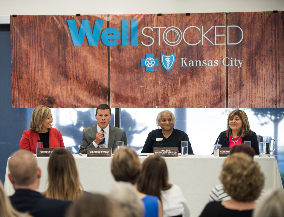 Panelists at Blue Cross and Blue Shield of Kansas City (Blue KC) and Harvesters Food 4 Thought event on July 19, 2018 where Blue KC's Well Stocked initiative was launched. The panel discussed hunger in Kansas City and was moderated by Christa Dubill, anchor at KSHB-TV NBC. Panelists from left to right: Dr. Greg Sweat, Senior Vice President and Chief Medical Officer at Blue Cross and Blue Shield of Kansas City, Valerie Nicholson-Watson, President and CEO of Harvesters, and Adriana Pecina, Program Officer with the Health Care Foundation of Greater Kansas City.