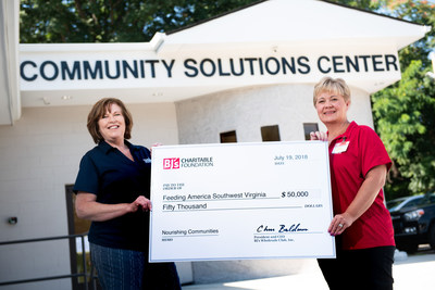 Carrie Heddings, general manager, BJ's Wholesale Club in Roanoke, Va. (right) presents a $50,000 donation from the BJ's Charitable Foundation to Pamela Irvine, president and CEO, Feeding America Southwest Virginia (left) on July 19, 2018 to support the food bank's Hunger-Free Summer Programs in Roanoke, Va.