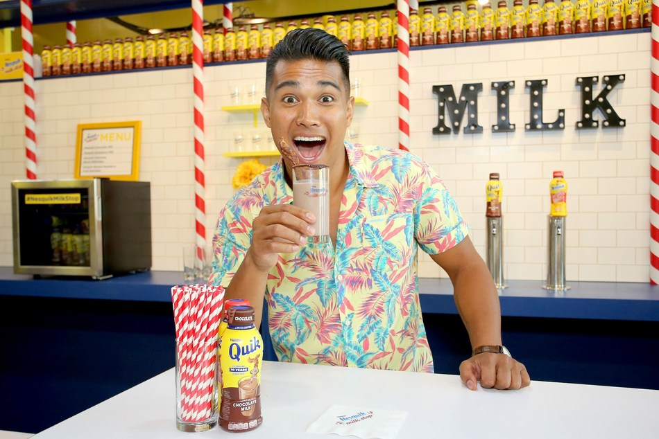 Chef Jordan Andino welcome guests to the Nesquik Milk Stop on July 19, 2018 in California. The Nesquik Milk Stop, a week-long pop up experience, celebrates Nesquik's 70th anniversary, encouraging fans to celebrate years of great taste and their love for the iconic brand through immersive experiences, delicious drinks and shareable photos.