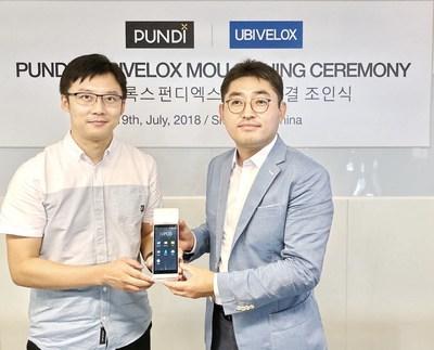 Jae Kwan Kim, Senior Vice President of UBIVELOX and Pitt Huang, Chief Technology Officer of Pundi X, signed MoU in Shenzhen on July 19, 2018
