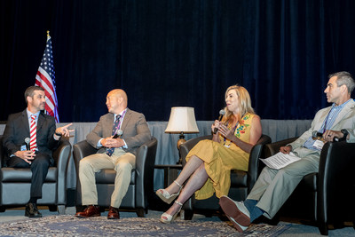 (left to right) Marc Fucarile, John Y. Kwon, MD, Heather Abbott, and Eric M. Bluman, MD, PhD, share personal stories from the aftermath of the 2013 Boston Marathon Bombing during the American Orthopaedic Foot & Ankle Society (AOFAS) Annual Meeting 2018 keynote presentation.