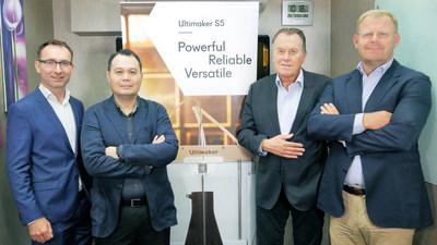 Ultimaker's Siert Wijnia (CTO), Benjamin Tan (VP APAC), Jos Burger (CEO), and Paul Heiden (SVP Product Management)