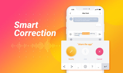 Kika Voice Board Provides AI Powered Smart Correction that Makes Replacing and Correcting Typos Easier Than Ever