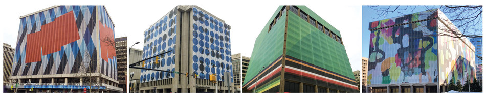 Each building is 12 to 14 stories high and covered in 329,808 square feet of Britten's Architectural Mesh™. Local artists, Tim Doud and Adrienne Shishko, were commissioned to create abstract artwork that would look good for years to come.