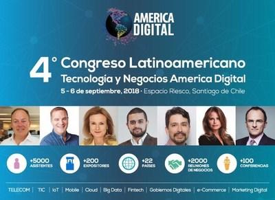 Chile será por 2 dias a capital tecnológica e de negócios da América Latina: Congresso América Digital 2018 (PRNewsfoto/Congresso America Digital)