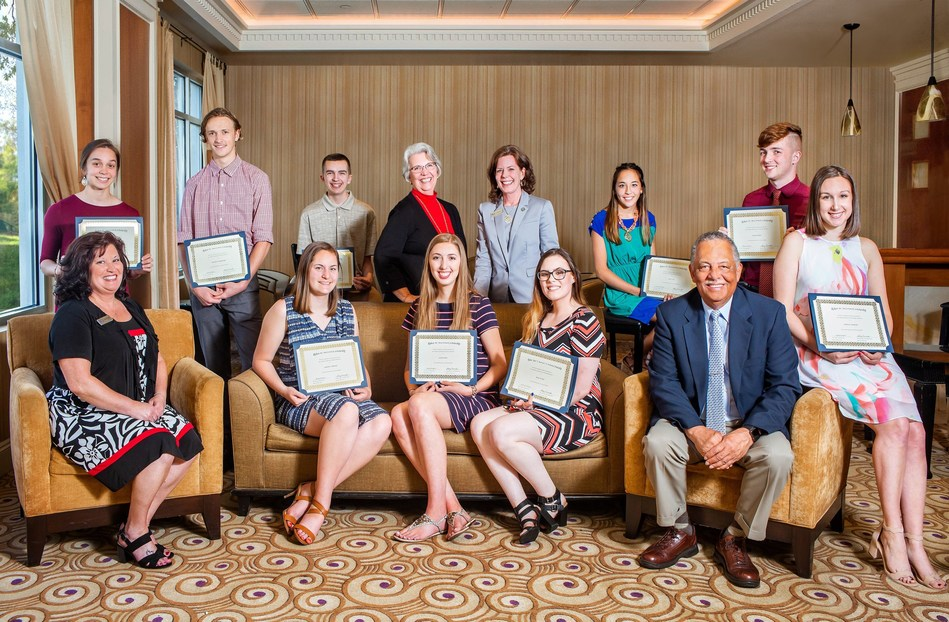 BCT - Bank of Charles Town 2018 College Scholarship Recipients. Top Row (From left to right) Mahayana Garcia - Jefferson High School/Shepherd University; Alexander R. Taughinbaugh – Jefferson High School/Shepherd University; Alexander S. Hine - Jefferson High School/WVU; Barbara H. Pichot, BCT Board of Directors; Alice P. Frazier, President & CEO, Potomac Bancshares Inc. & Bank of Charles Town; Leah K. Chen - Jefferson High School/WVU; Dutch M. Miller - Washington High School/WVU.Bottom Row (From left to right) Stacy Duranko, Trust Administrator, BCT Wealth Advisors; Samantha J. Milbourne - Jefferson High School/WVU; Sarah K. Marrs - Jefferson High School/WVU; Desiree N. Hart - Martinsburg High School/ University of Charleston; C. Larry Togans, BCT Board of Directors; Sabrina E. Szemborski – Washington High School/WVU.