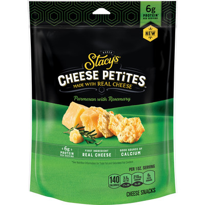 Designed to be enjoyed on-the-go or featured as the new centerpiece of any food spread, Stacy's Cheese Petites come in two delicious flavors – Parmesan with Rosemary, and Romano with Garlic and Pepper.