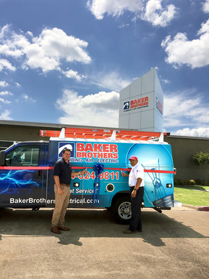 JIMMIE DALE,JR & Master Electrician, James Sotero photographed Launching the addition of electrical services for both home and commercial to its menu of services Baker Brothers already offers