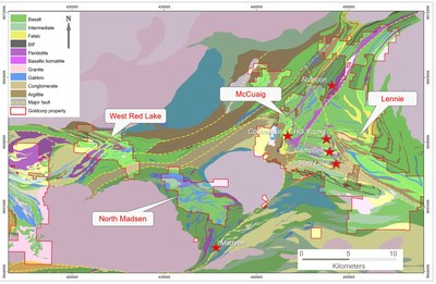 Figure 7: Regional exploration target areas identified from the belt-scale litho-structural lineament study. (CNW Group/Goldcorp Inc.)