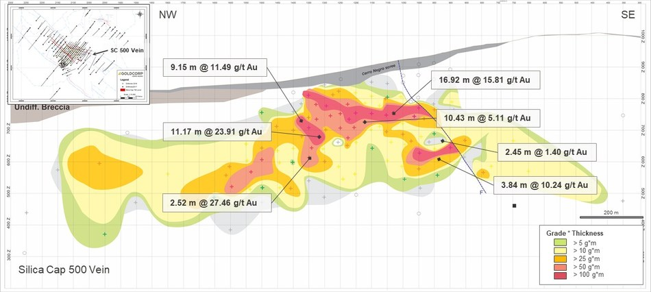 Figure 9: Longitudinal section of the Silica Cap 500 vein. (CNW Group/Goldcorp Inc.)
