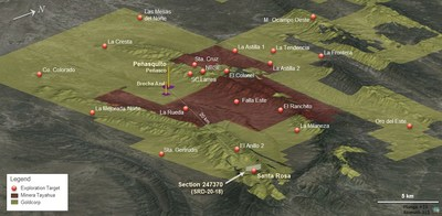 Figure 11: Peñasquito central block, concessions, and exploration targets with the position of Santa Rosa. (CNW Group/Goldcorp Inc.)