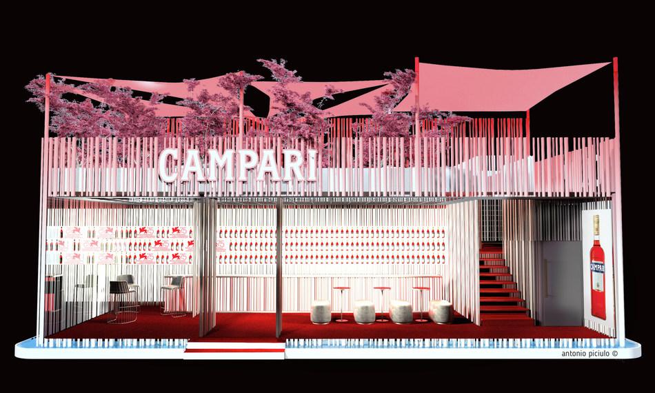 Enjoy an iconic apéritif in perfect Italian style with Campari in Lido in a Lounge at the 75th Venice International Film Festival (PRNewsfoto/Campari)