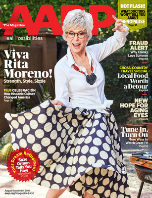 Rita Moreno on the Cover of AARP The Magazine's August/September 2018 Issue