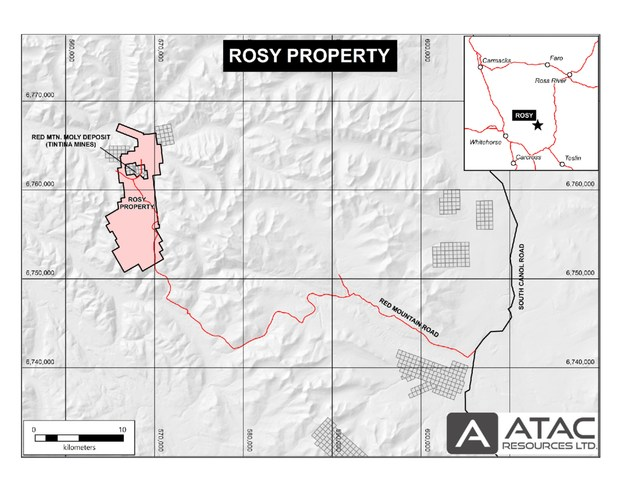 The Rosy property is located on the Red Mountain access road, 77 km east-northeast of Whitehorse, Yukon. (CNW Group/ATAC Resources Ltd.)
