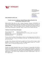 Seaspan Announces Conference Call and Webcast to Discuss Results for the Second Quarter Ended June 30, 2018 (CNW Group/Seaspan Corporation)