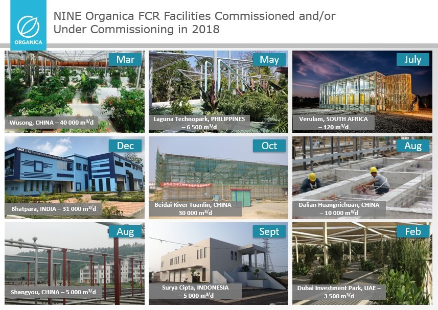 NINE Organica FCR Facilities Commissioned and/or Under Commissioning in 2018 (PRNewsfoto/Organica Water)