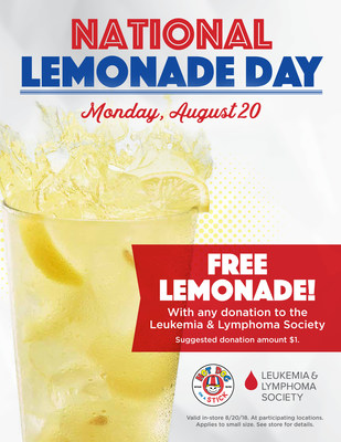 Free Lemonade at Hot Dog on a Stick on National Lemonade Day with LLS Donation.