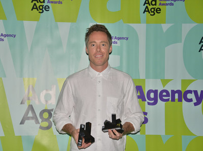 John McKelvey, co-founder and executive creative director at JohnXHannes New York accepts the 2018 Ad Age Small Agency of the Year Award, under 10 employees, at the Ad Age Small Agency Awards in Santa Monica, California. Missing from picture: Hannes Ciatti, co-founder and executive creative director, JohnXHannes New York.