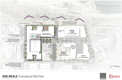 With over 5.5 riverfront acres, Memphis based Carlisle Corporation has master planned its new One Beale project as a mixed-use, multi-parcel development comprising of a hotel, residential, retail & office spaces, along with a public parking garage. Preliminary financials value the total development at $225 million, with the first phase estimated at $130 million starting in January. A full-service, four-star Hyatt Centric hotel will host 227 rooms, along with 15,000 square feet of meeting space.