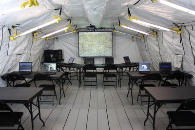 SOI integrated C4ISR products in an HDT BASE-X® 307 model shelter