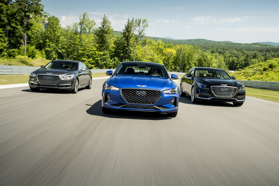 The Genesis product portfolio continues to grow with the new G70 luxury sport sedan (center) joining the G80 (left) and G90 (right) in August. (PRNewsfoto/Genesis Motor America)