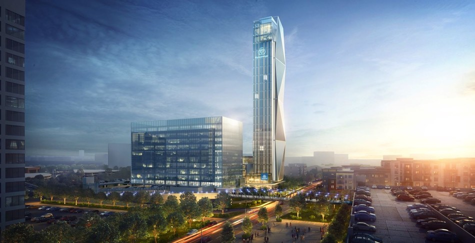 thyssenkrupp Elevator, one of the world's largest elevator companies and a market leader in North America, is going to build a new, world-class headquarters near the Atlanta Braves baseball stadium in Georgia/USA. The facilities will be anchored by a state-of-the-art, 128-meter-tall elevator test tower, the tallest of its kind in the U.S. and one of the tallest in the world. (PRNewsfoto/thyssenkrupp Elevator)