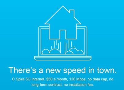 C Spire is offering consumers and businesses in some Mississippi markets 5G internet access that features download speeds up to 120 Mbps and upload speeds of 50 Mbps for $50 a month with no extra fees, no contract and no data limits.