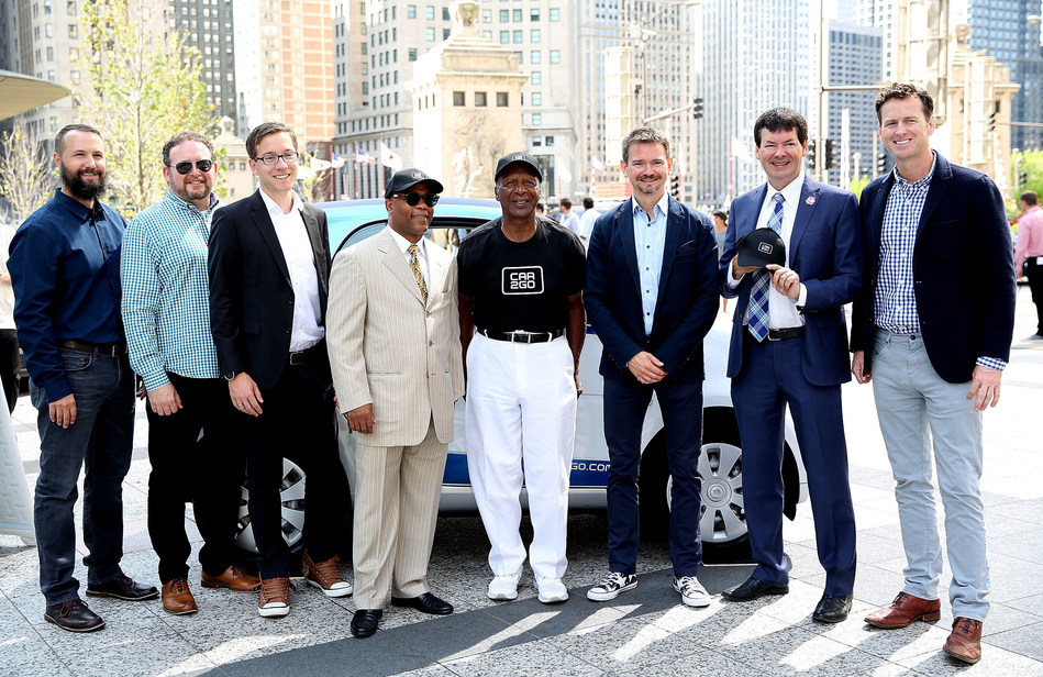 Celebrating the launch of car2go service in Chicago on July 25: Mike Mikos, CFO car2go N.A., Mike Silverman, Communications Director car2go N.A., Dr. Sebastian Dehnen, Global CFO of car2go Group GmbH, Alderman Walter Burnett, Jesse White, Secretary of State of Illinois, Olivier Reppert, Global CEO of car2go Group GmbH, Alderman Brian Hopkins, Paul DeLong, CEO of car2go N.A. - Photo Credit: Getty Images