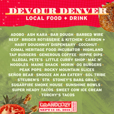 Grandoozy, Denver's first ever, three-day, multi-format festival from Superfly, the co-creators of Bonnaroo and Outside Lands, debuts its food and drink lineup representing some of the best restaurants, food trucks, distilleries and breweries found in the region.