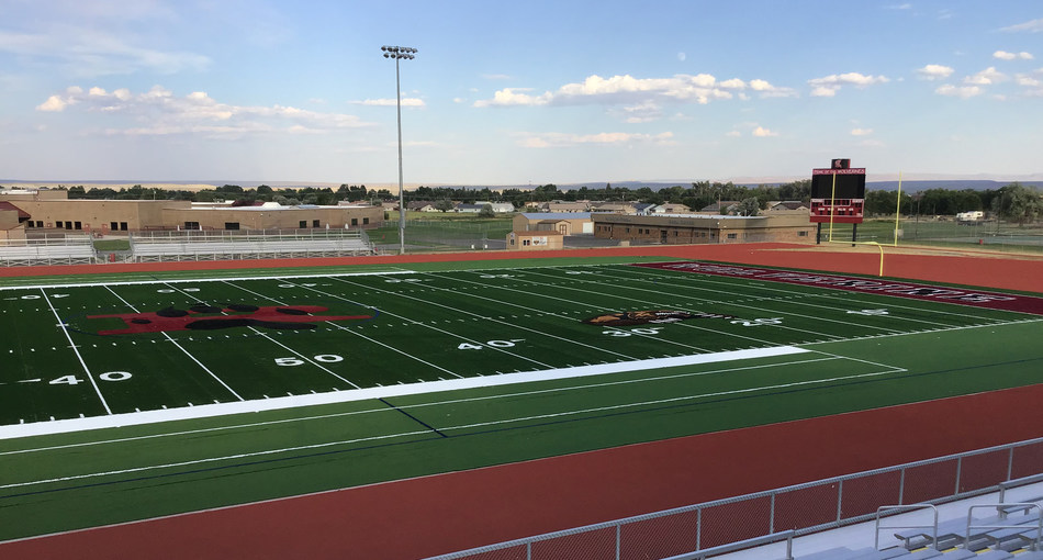 Hellas Construction crews are at Riverton High School in Wyoming wrapping up installation of the new Matrix Turf with Helix Technology and Comfort Coat™ pad, along with the epiQ Tracks® X1000 track surface scheduled for completion next week.