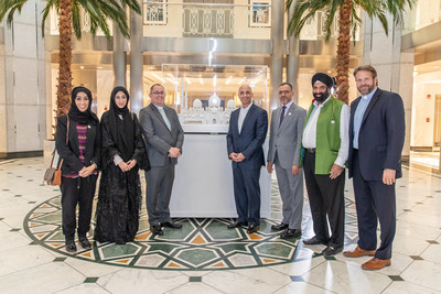 A delegation of government and faith leaders from the United Arab Emirates presented Ambassador Yousef Al Otaiba (4th from right) and the UAE Embassy in Washington, DC with a model of the Sheikh Zayed Grand Mosque in Abu Dhabi.