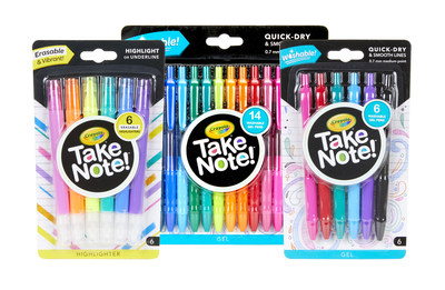 Crayola introduces Take Note!, a new line of creative writing tools just in time for back-to-school.