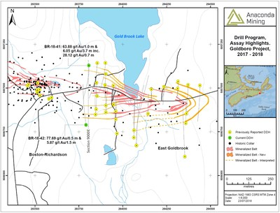 Exhibit A. A map showing the location of section 9000E as well as associated drill collars and select assay highlights from recent drilling. (CNW Group/Anaconda Mining Inc.)