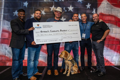 Members of Vista Outdoor's leadership team present a check for more than $146,000 to the Veterans Community Project