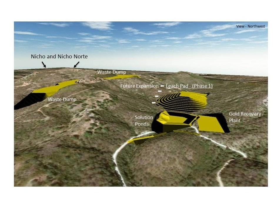 Figure 1 - Santana proposed gold heap leach operations site arrangement (CNW Group/Minera Alamos Inc.)