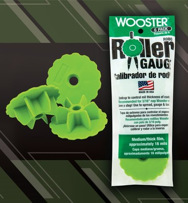 The Wooster Brush Company is proud to announce the addition of a green, 16mm, roller gauge to extend the product line of the roller gauge system. These tools make a challenging application—controlling mil thickness—instantly more precise.