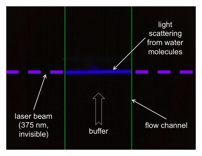 The Tiber technology is based on a pulsed UV laser for label-free excitation of biomolecules. The laser beam, which invisible to both the eye and most cameras, shows up in this image as deep blue due to Raman scattering from water molecules in the flow channel of the Tiber instrument. The instrument sensitivity is such that this normally undetectable signal has to be specially filtered out. © 2018 Kinetic River Corp.