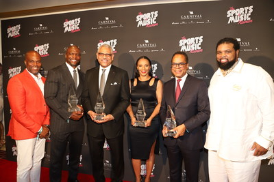 2018 Sports & Music Reunion Co-Host Chris Spencer (far left) and Andre Farr (far right), with 2018 Best By Farr Award Winners and Guest of Honor (left to right): Terry Crews, Retired NFL Player & Hollywood Actor, Leadership & Valor Award; Arnold Donald, CEO, Carnival Corporation, Chief Executive of the Year Award; Danielle Frost, Founder & CEO, A Frostchild Production, Sports Event Producer of the Year Award; Quintin Primo III, Chairman & CEO, Capri Capital, Entrepreneur of the Year Award.