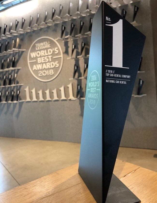 """The National Car Rental brand claimed the top spot once again this year at the 2018 Travel + Leisure magazine """"World's Best"""" Awards."""