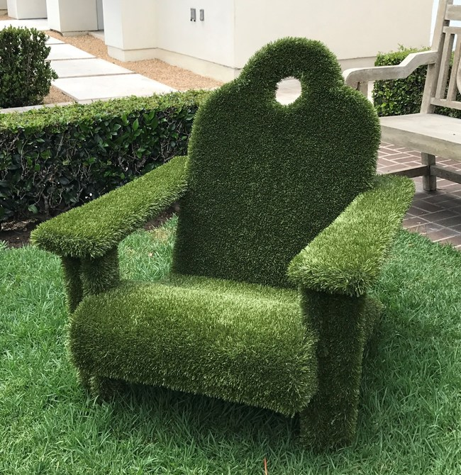 Lauren Jacobsen, a California designer, suggests covering Adirondack chairs with faux grass to create unique seating for your guests. (PRNewsfoto/Kathy Wall)