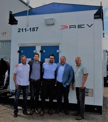 From left to right: Roland Davidson, Principal, REV; Gaetan Djenane, Business Development Manager, Schneider Electric; Kareem Nakhla, Offer Marketing Specialist, Schneider Electric; Daryll Lowry, Sales Manager, REV; Shawn Oldenburger, Principal, REV (CNW Group/Schneider Electric)