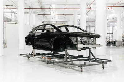 Faraday Future FF 91 first production-level body-in-white completed and painted awaits further build stages in FF Hanford factory.