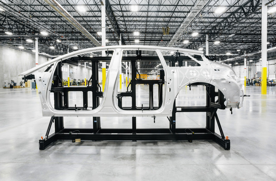Faraday Future FF 91 first production-level body-in-white undergoing assembly.