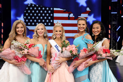 At the 2019 Miss America's Outstanding Teen Competition In Orlando, Florida, the top five finalists included (left to right): third runner-up Miss Alabama's Outstanding Teen, Collins McMurray; first runner-up Miss Pennsylvania's Outstanding Teen, Cecilia Petrush; 2019 Miss America's Outstanding Teen London Hibbs of Texas; second runner-up Miss Virginia's Outstanding Teen, Emily Kinsey; and forth runner-up Miss Georgia's Outstanding Teen, Rory Pan.