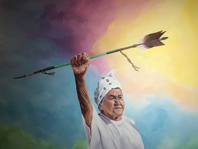"""""""Nookimisjichaag odishiwed""""(Grandmother's spirit visits the people) by Hillary Kempenich (Turtle Mountain Chippewa), IM:EDGE artist."""