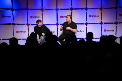 Joi Ito, Director of MIT Media Lab, and Reid Hoffman, Cofounder of LinkedIn and Partner at Greylock Partners, hold a discussion at EmTech MIT.