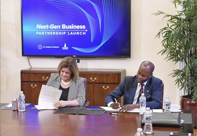 U.S. Chamber Senior Executive Vice President Suzanne P. Clark and Howard University President Wayne A. I. Frederick sign the memorandum of understanding to launch the Next-Gen Business Partnership.