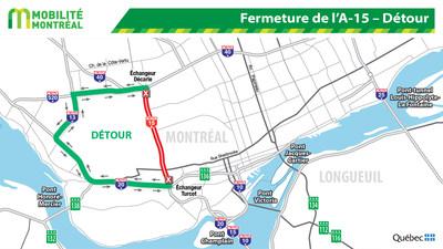 Fermeture de l'A-15 – Détour (Groupe CNW/Ministère des Transports, de la Mobilité durable et de l'Électrification des transports)